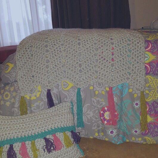 Piecera y cojín a crochet