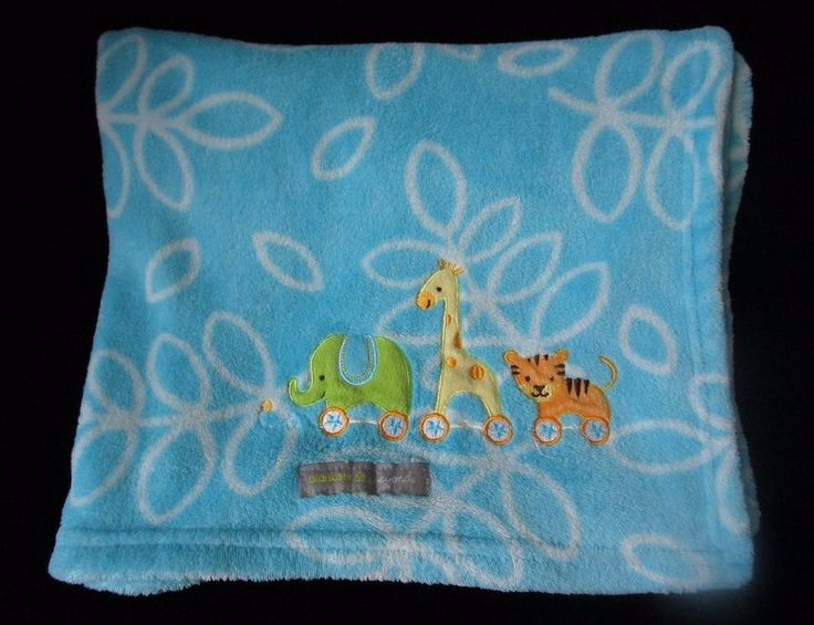 Blankets & Beyond Leaves Jungle Blue White Baby Blanket Giraffe Tiger Elephant #BlanketsBeyond