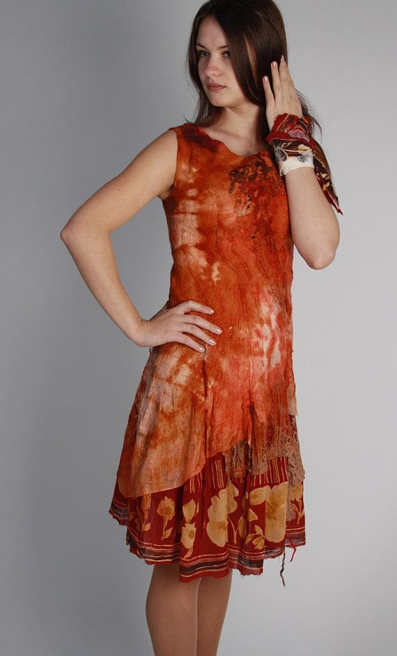 Red felted dress - Orange red nuno dress - Two sided floral dress - Felted party dress - Bridesmaid's dress - Wool silk garment