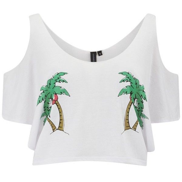 South Beach Women's Plum Tree Cold Shoulder Crop Top (€22) ❤ liked on Polyvore featuring tops, white, white cami, scoop neck crop top, cutout crop top, cut out crop top and white cami top