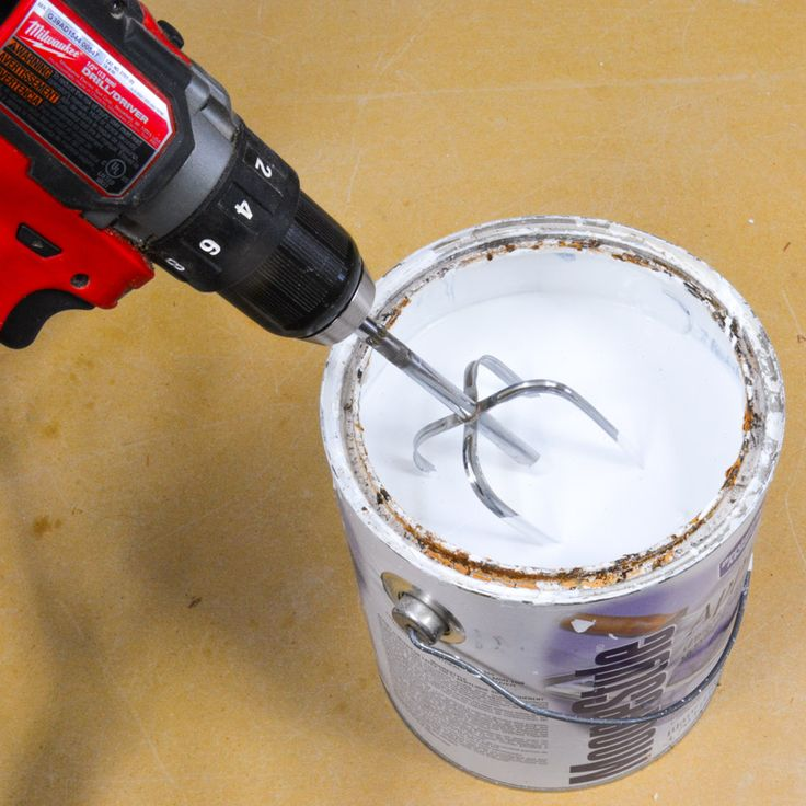 I've picked up a couple of different sizes of cheap beater to mix and accommodate different size cans of paint. I stick one or the other in my cordless drill (corded would work fine too) and now I have an instant paint mixing device that does a great job of moving the paint around and getting a good consistency mixed up. #DIY #paint