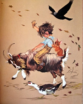 Boy riding goat - pre-RSPCA obviously by JANET & ANNE GRAHAME JOHNSTONE (1960s)