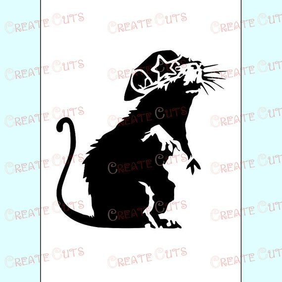 Banksy Rat with Star Sunglasses reusable STENCIL for room interior decor / Not a decal - from Create Cuts
