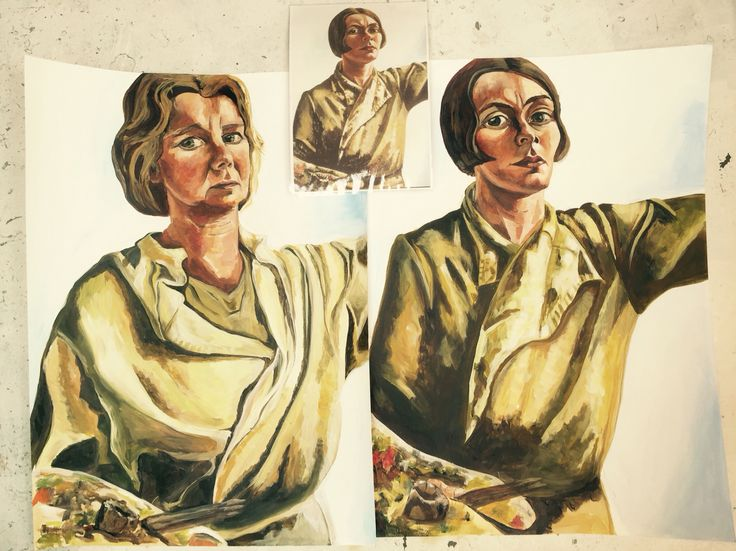 Me and Charley (Toorop) painting Esther Eggink, acrylic, Portretschool Amsterdam