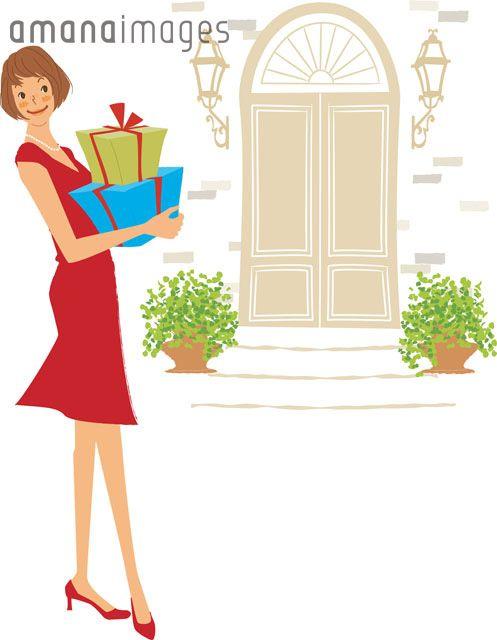 プレゼントボックスを持つ女性 (c)AKIKO KAWAMURA