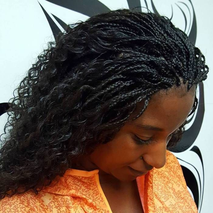 Wavy Hairstyle With Micro Box Braids