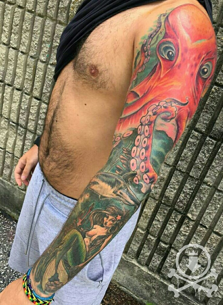 Great shot of this finished Kraken/ocean themed full sleeve tattoo by Alex Feliciano.  #12ozstudios #team12oz #tattoo #tattoos #tattooed #tattooart #tattooartist #ink #inked #kraken #krakentattoo #fullsleeve #fullsleevetattoo #tattoosformen #tattoosforwomen