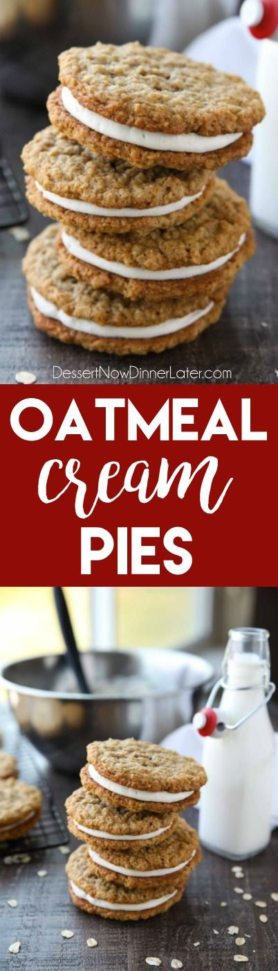 Oatmeal Cream Pies – Soft and chewy oatmeal cookies filled with vanilla buttercream frosting. Inspired by Little Debbie, but made fresh and delicious in your own home!