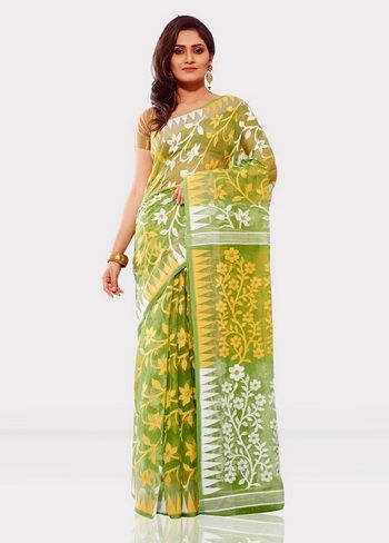 Traditionally, Tant handloom sarees are weaved by making use of cotton threads that are popular because of their lightness and transparency. Being a breathable fabric, these are used for daily purposes, especially in humid and hot climate. Motifs used in manufacturing and designing these sarees are of modern art, sun and flowers. The most attracting part of Tant saree is its bottom and the pallu, which comes with an exclusive touch of excellence and zari work.