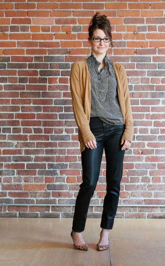 I don't like those shiny pants. The cardigan is an interesting color. I like i…