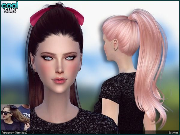 The Sims Resource: Anto – Paraguay (Hair   Bows) • Sims 4 Downloads