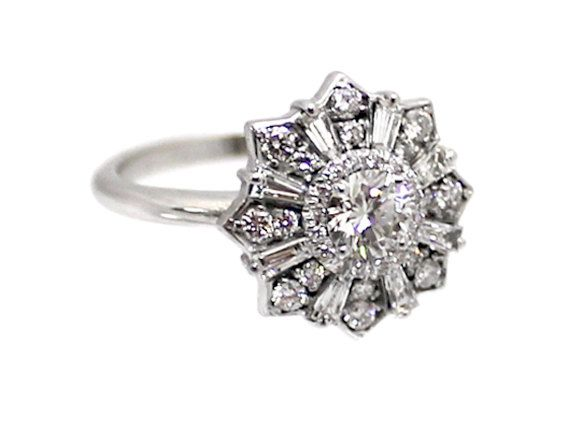 art deco flower wedding rings