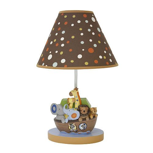 Light up the nursery with our animal ark lamp complete with a dotted shade and energy efficient bulb.