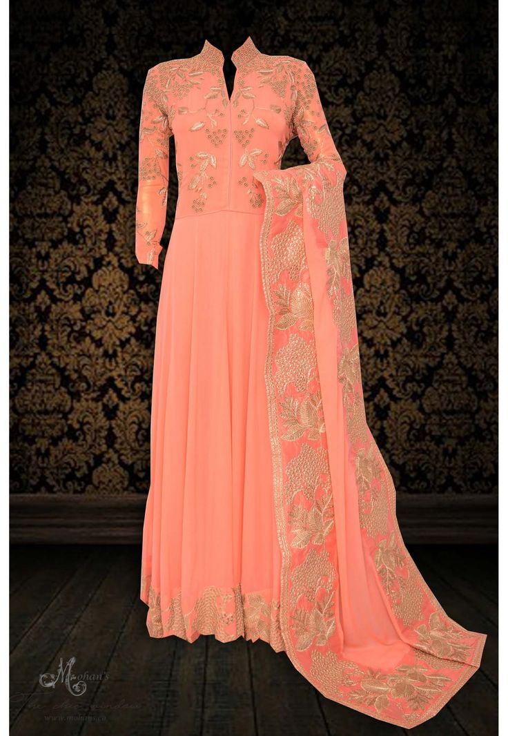 Pretty peach frock suit adorn in beads and zari work