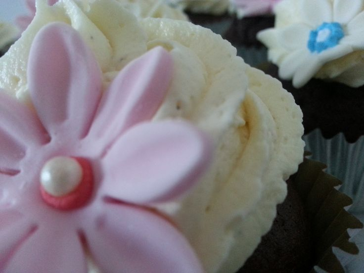 Pink and Cream Chocolate Cupcakes
