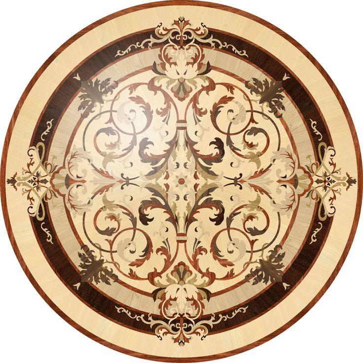Wood Medallions, Model: Leyla. Featuring floor medallions, parquet, borders, inlays, herringbone | Czar Floors