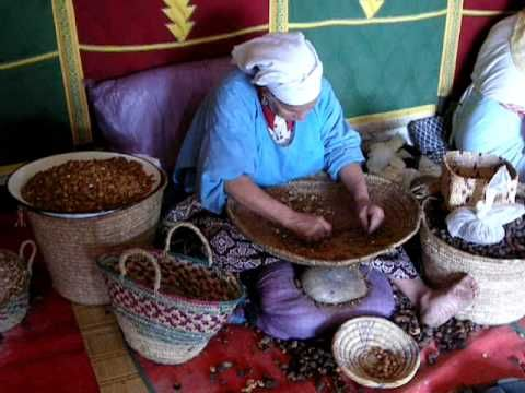 Female cooperation producing argan oil and cosmetics. Essaoura, Morocco