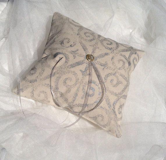 Wedding Ring Bearer Pillow Handprinted Metallic Silver Pattern On Ca