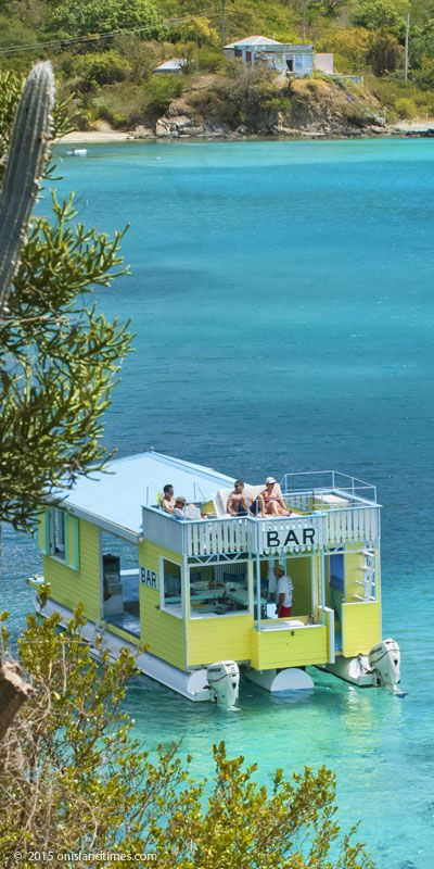 Floating bar, Angels Rest, on Hansen Bay - St John's East End. US Virgin Islands.