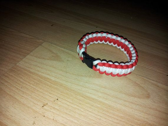 ENGLAND red & white Paracord wrist band by BushcraftEmporium, £7.00