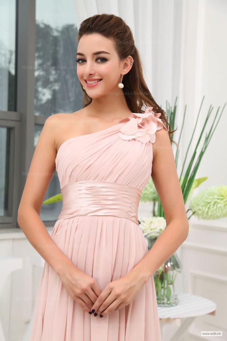wedding planning Flowy Hand Made One Shoulder Empire Waist Full A-Line Chiffon Floor-Length Dress $148.98