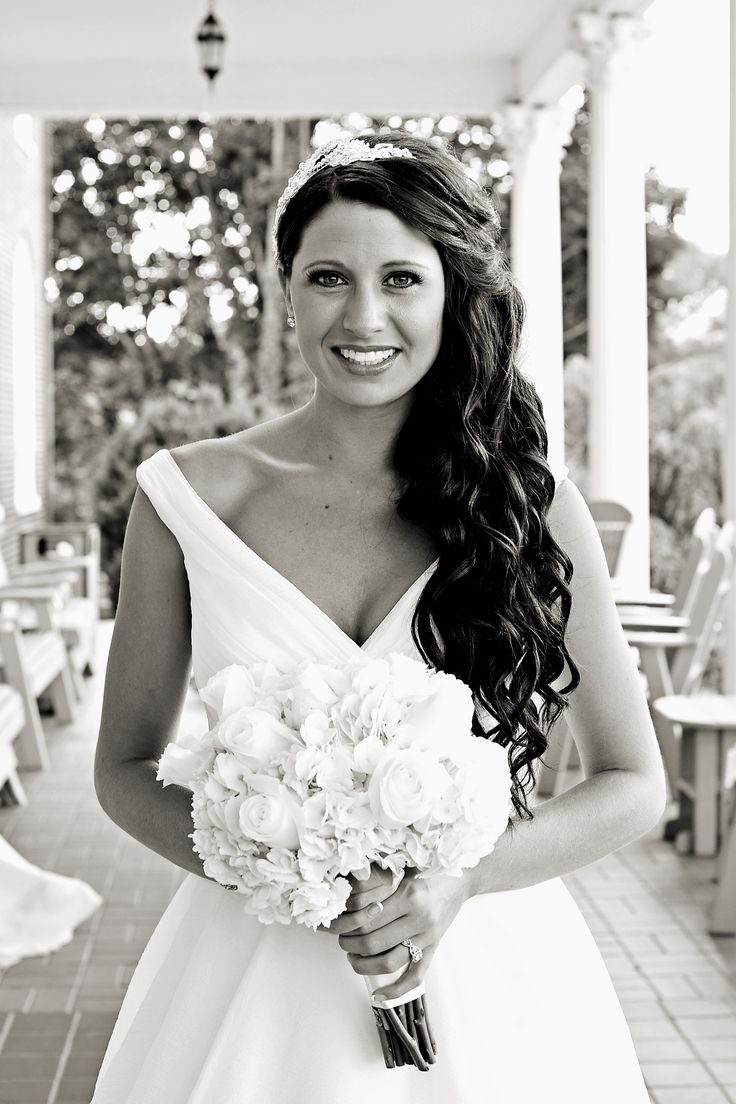 Real Bride Joelle on her big day in her Ellis Bridals 11228 wedding dress.