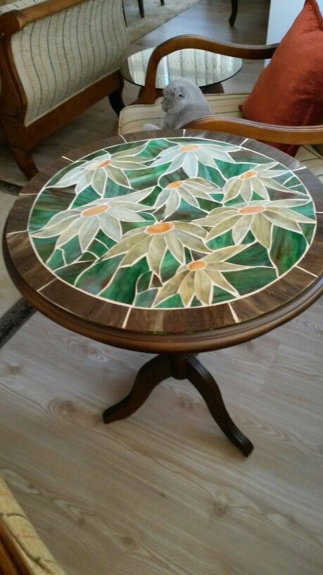 """flowers""stained glass mosaic coffe table"