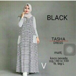 @73000 tasha dress bahan spandek uk all size fit L besar