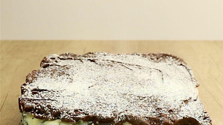 Mohnkuchen mit Schoko- und Vanillecreme