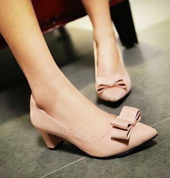 Spring thick heel scrub women's bow shoes customize size low-heeled gentlewomen velvet