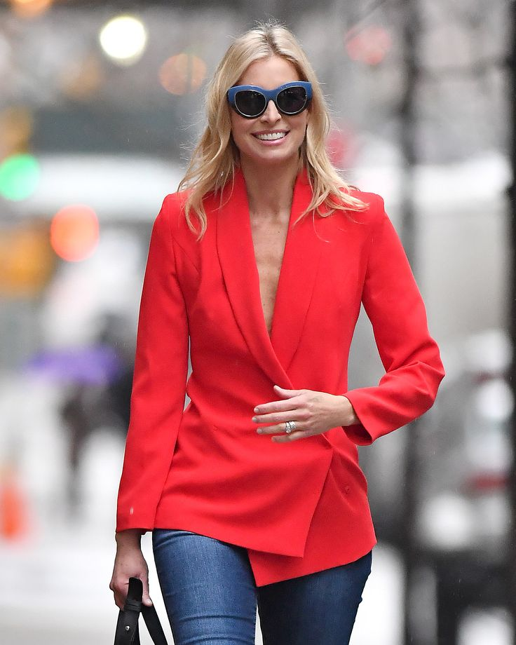 Model Niki Taylor seen wearing a red blazer in New York City, New York.