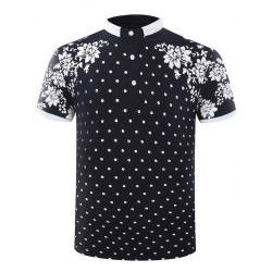 Hot Sale Turn-Down Collar Polka Dots Floral Printed Men's Short Sleeve Polo T-Shirt