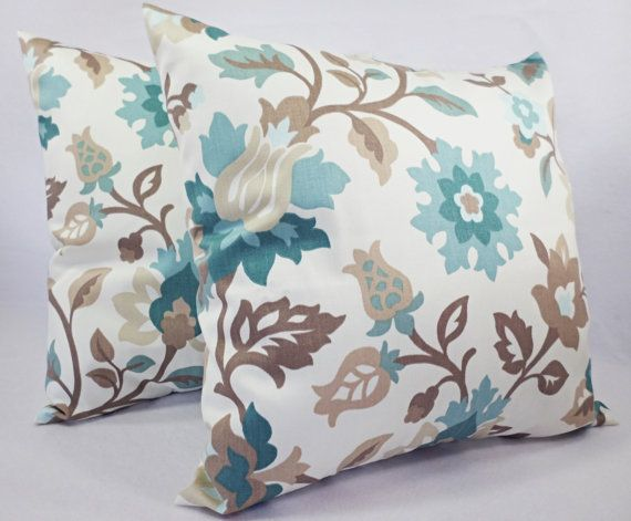 This listing is for two spa blue and brown pillow covers in a gorgeous floral pattern! These floral throw pillow covers fit a pillow insert