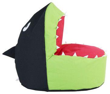 Beanbag Shark, Black/Green/Red - contemporary - Kids Chairs - HRH Designs