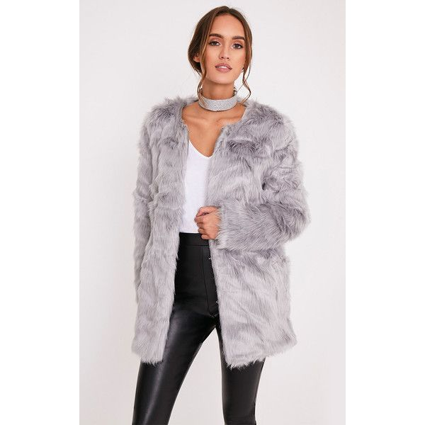 Florencia Grey Faux Fur Coat ($25) ❤ liked on Polyvore featuring outerwear, coats, grey, longline coat, grey faux fur coat, fake fur coats, grey coat and gray coat