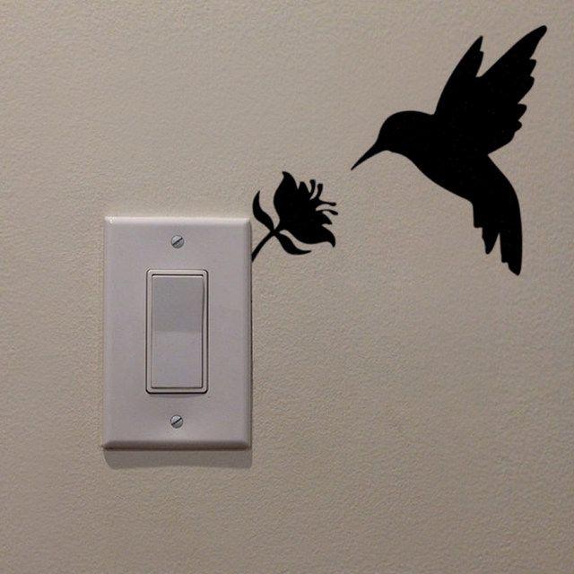 Black Creative Birds Diy Wall Stickers Switch Sticker Home Decoration Wallpaper Jg1874 Wall Painting Decor Diy Wall Painting Wall Paint Designs
