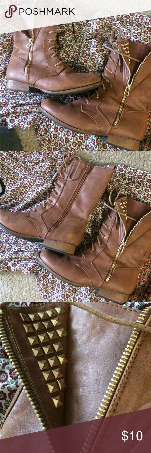Brown combat boots w/ stud accent Brown zip up combat boots with stud accent. Gently worn, a few scuffs (pics included) Charlotte Russe Shoes Combat & Moto Boots