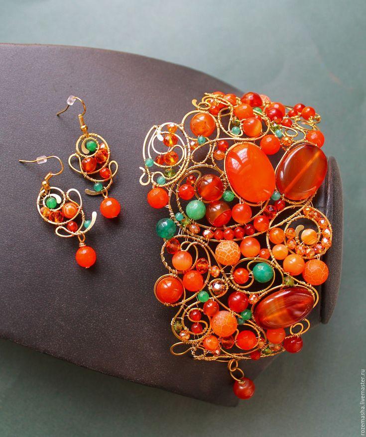 Купить Браслет Сердоликовый Полдень (вариант) - оранжевый, комплект, wire wrap, винтаж, модерн
