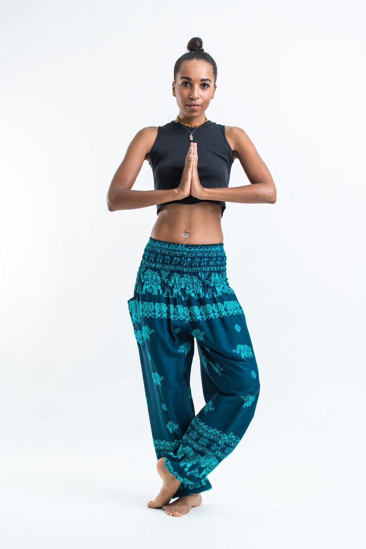 "Amazingly soft Elephant Raja Women's Harem Pants.Cotton/Rayon Blend. Free International Shipping on Orders over $60 at HaremPants.com Sizing: One size fits most. Approx. Measurements: Waist: 24"" to 38"