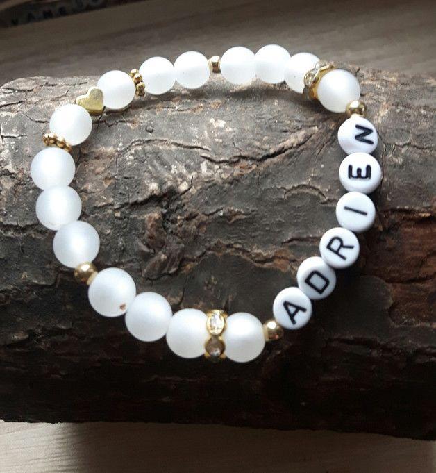 Namensarmbänder - ♥Namensarmband Polarisperlen gold♥ Geschenk Taufe - ein Designerstück von Mein-Schmuckzauber bei DaWanda
