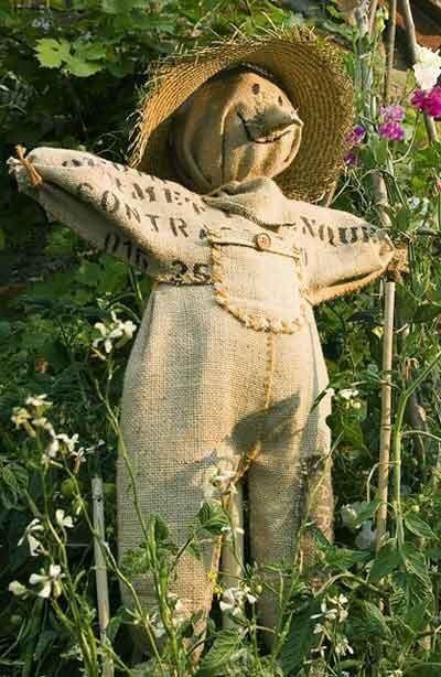 boneco espantalho de jardim em tecido