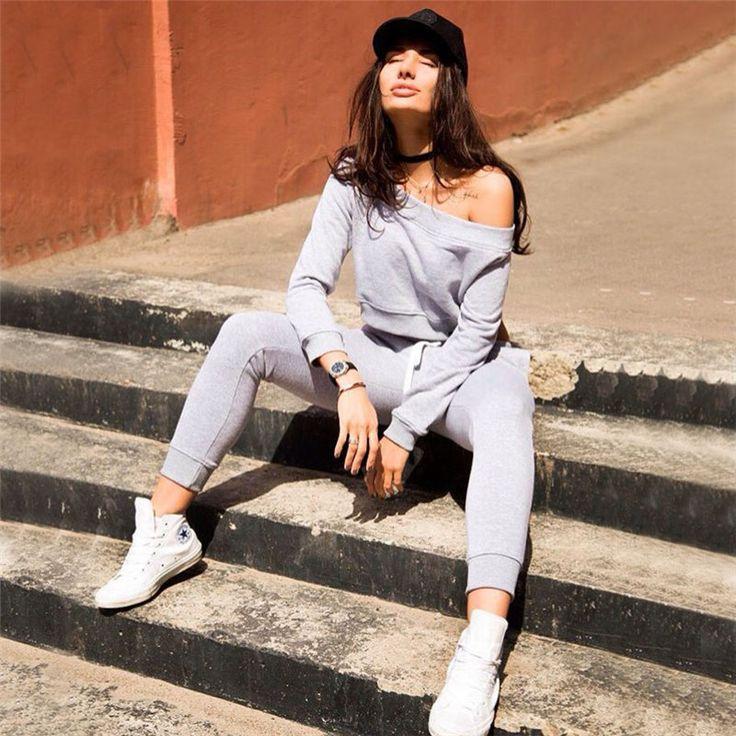 Off Shoulder Solid Color Navel Crop Top Pants Activewear