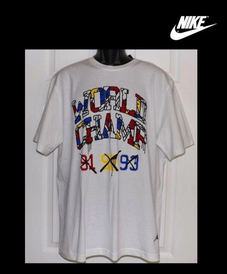 MEN'S NIKE AIR JORDAN WORLD CHAMPS 91 92 93 T-SHIRT BASKETBALL SIZE XL 534801  #Nike #GraphicTee