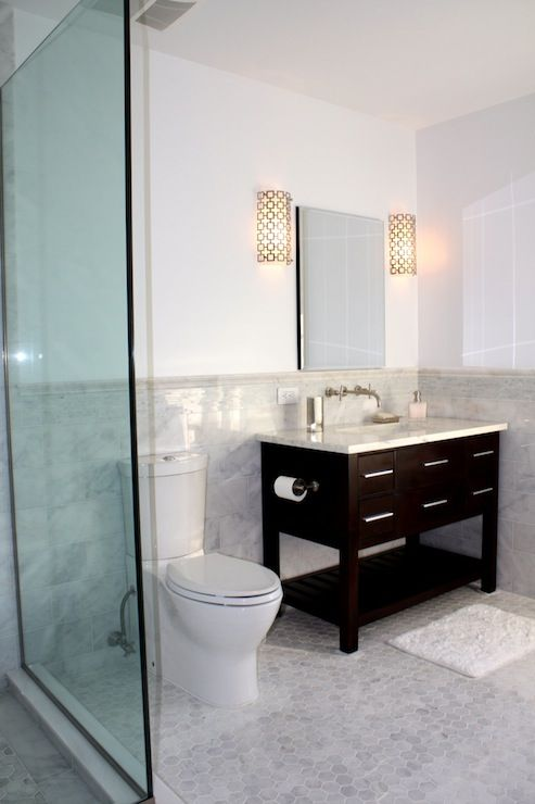 Shower Accent Tile Hexagonal Marble Floor, Black Cabinet, Carrera Top And