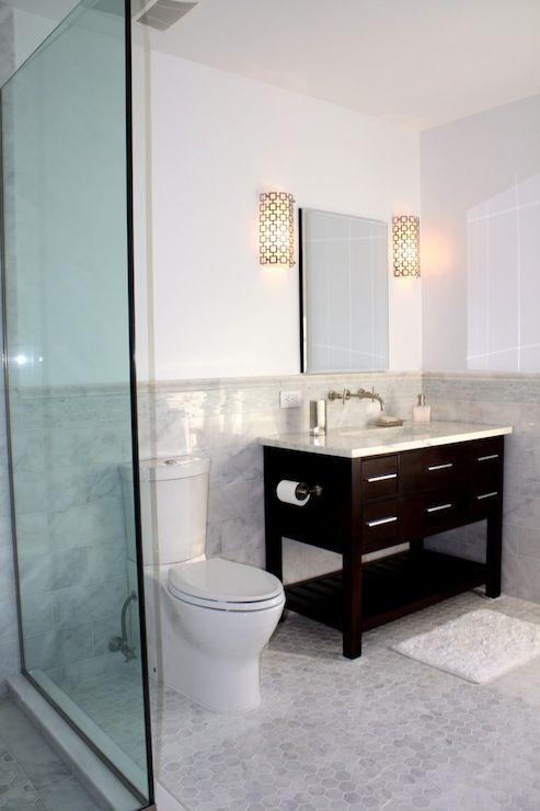 hexagonal marble floor black cabinet carrera top and