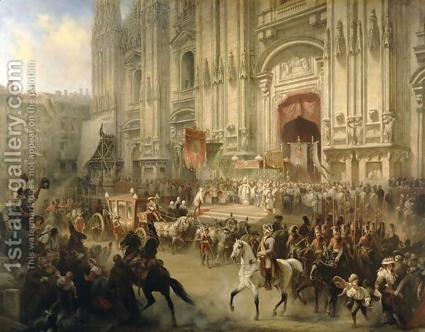 Ceremonial reception of Field-marshal Alexander Suvorov (1729-1800) in Milan in April 1799, c.1850 by Adolf Jossifowitsch Charlemagne