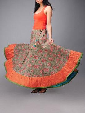 Flora Mukaish Kalidar Cotton Skirt (Free Size)