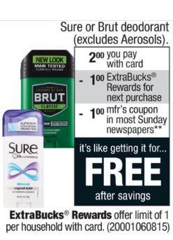 FREE Sure or Brut Deodorant Starting 03/04 at CVS! | Coupons