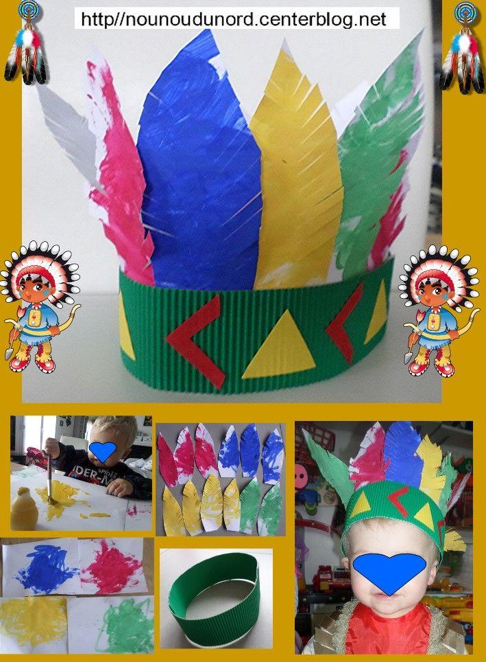 Voici la jolie coiffe d'indien pour le carnaval réalisé par Noah 18 mois et nounou Noah a peint des feuilles cartonnées en plusieurs couleurs et nounou les a découpé pour en faire des plumes pour les fixer sur un bandeau en carton ondulé.  http://nounoudunord.centerblog.net/4617-coiffe-indien-de-noah-pour-le-carnaval