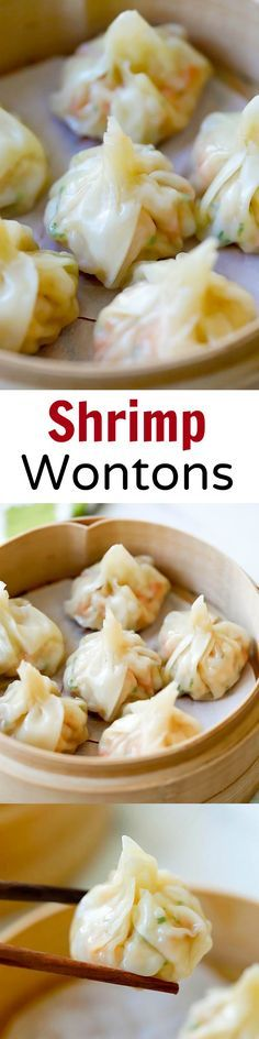 Shrimp wontons – easy peasy shrimp wontons recipe with shrimp, wrapped with wonton skin and boil/steam. SO easy & delicious!!! | http://rasamalaysia.com